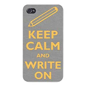 Apple Iphone Custom Case 6 4.7 White Plastic Snap on - Keep Calm and Write On Pencil