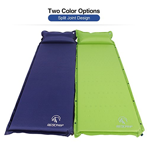 REDCAMP Self-Inflating Sleeping Pad with Attached Pillow, Compact Lightweight Camping Air Mattresses with Quick Flow Value, Blue 77″x26″x1.2″