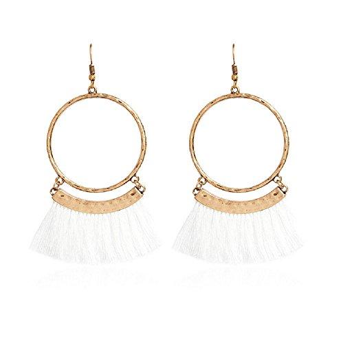(Livtor Fan Tassel Earrings Hoop Drop Dangle Earrings Fish Hook Earring for Daily Wear, Wedding, Party etc(White))