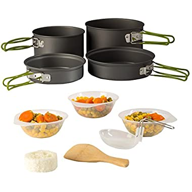 Camping Cookware Pot & Pan Set Mess Kit Backpacking Outdoor Cooking Bowl, Made Of Lightweight Aluminum Material, Small & Compact Heat Resistant Foldable Handles, Hiking Gear fishing Survival Equipment