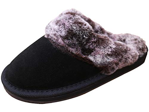 Lyra Womens Genuine Suede Leather Warm & Comfy Winter Slippers Fluffy Indoor and Outdoor House Shoes Slip on Scuff with Faux Fur Plush Pile Lining and Thick Sole Black (Ladies Genuine Leather Suede)