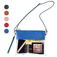 Vorspack Clear Crossbody Purse Bag Stadium Approved Fashion Clear Bag PU Leather Wristlet Handbag with Adjustable Shoulder Strap for Events Concerts Festivals Work
