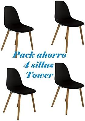 Oui Home - Conjunto 4 Sillas Tower Negras Abs: Amazon.es: Hogar