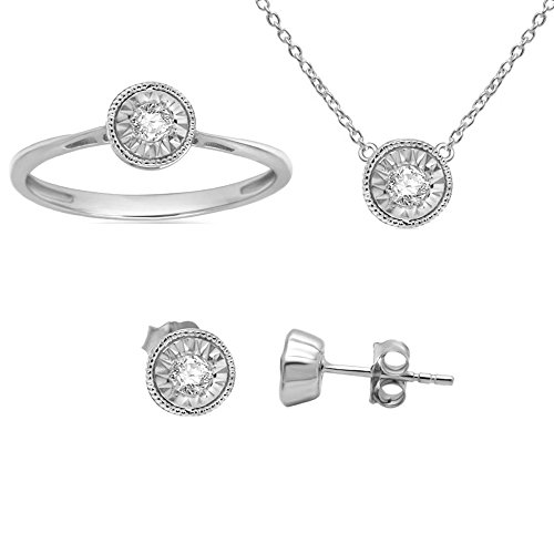 1/4 ct Real Diamond Solitaire Earrings Ring Pendant Set Sterling Silver (Jewellery (Omega Diamond Ring)
