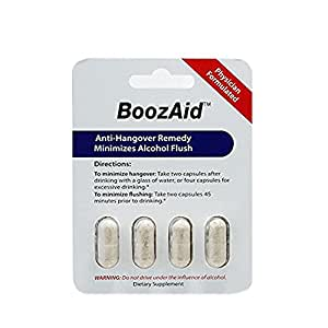 Boozaid Hangover Prevention & Remedy Capsules That Support The Brain, Liver And Stomach To Relieve Hangover Symptoms After Excessive Drinking (Double Serving Of 4 Capsules)