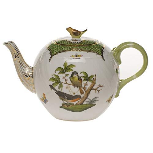 Herend Rothschild Bird Green Porcelain Tea Pot with Bird