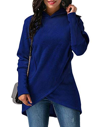 Marca Cappuccio Nero Casual Autunno Asimmetrica Lunghe Mode Hoodies Camicia Donne Elegante Invernali Monocromo Felpe Camicetta Felpa Pullover Di A Bolawoo Con Maniche w61Uqq