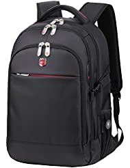 Swiss Ruigor 6192 Water Resistant Backpack Fit For 15.6 Laptop and Notebook - Black