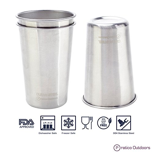 Clean Steel Stainless Steel Cups - Multi-purpose 16 oz Pint Glasses Made from BPA Free Premium 18/8 Electropolished SS Metal (Set of 5 - 473 ml)