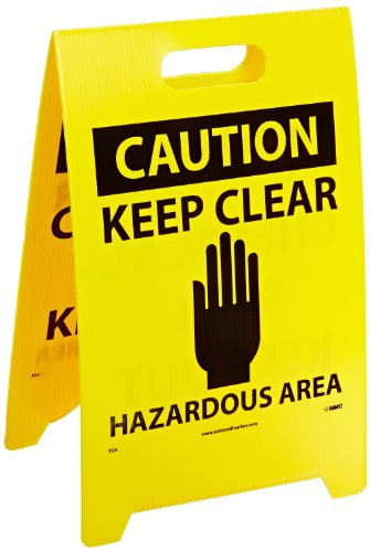 NMC FS5 Double Sided Floor Sign, Legend ''CAUTION - CHEMICAL SPILL KEEP OUT KEEP CLEAR HAZARDOUS AREA'', 12'' Length x 20'' Height, Coroplast, Black on Yellow by NMC (Image #1)