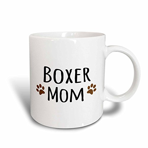 3dRose (mug_154083_2) Boxer Dog Mom - Doggie by breed - brown muddy paw prints love - doggy lover - proud mama pet owner - Ceramic Mug, 15-ounce
