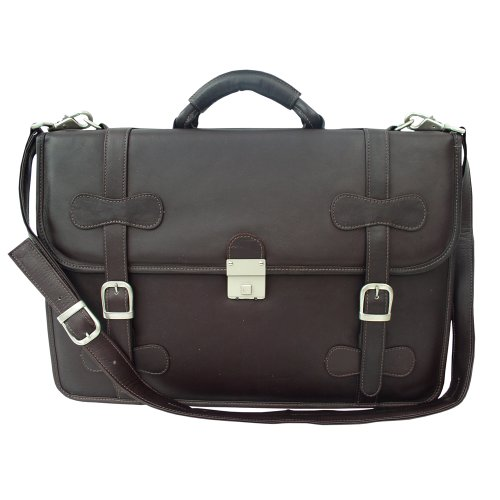 Piel Leather XXL Flap-Over Portfolio, Chocolate, One Size by Piel Leather