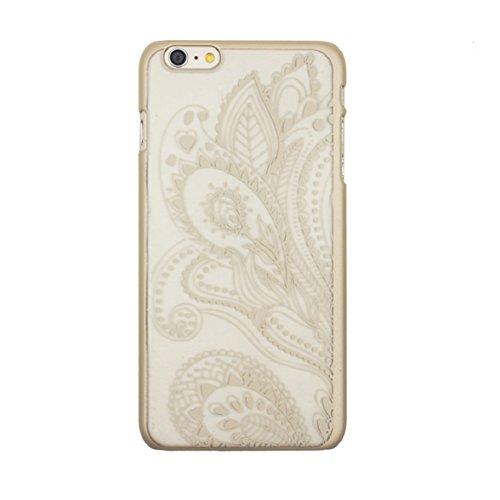 Culater® für iPhone 6 retro geschnitzte Damast Henna Blumen Tasche zurück case cover Hülle Gold