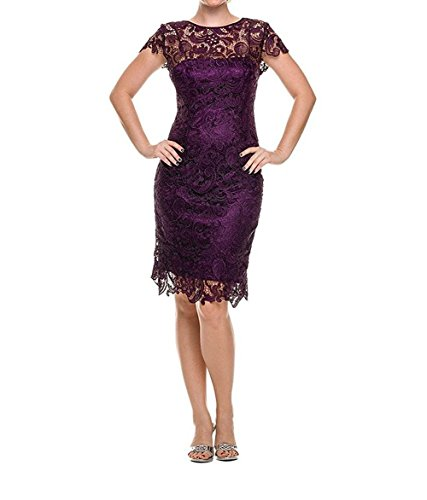 Dannifore Eggplant Floral Lace Party Evening Dresses Knee Length Wedding Mother Dress Size 22W