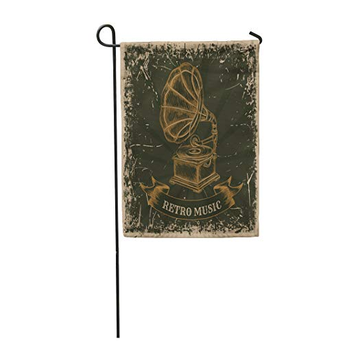 Semtomn Garden Flag 1920S Vintage Gramophone Retro Label Music in Sketch Phonograph 28