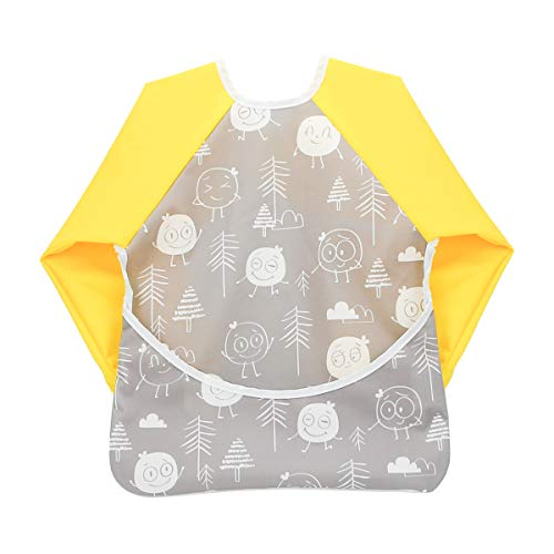 Hi Sprout Toddler Baby Waterproof Sleeved Bib, Bib with Sleeves&Pocket, 6-24 Months (hisprout family)