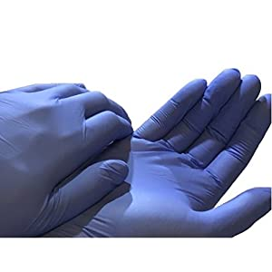 Disposable Nitrile Exam Powder Free Gloves - on hands