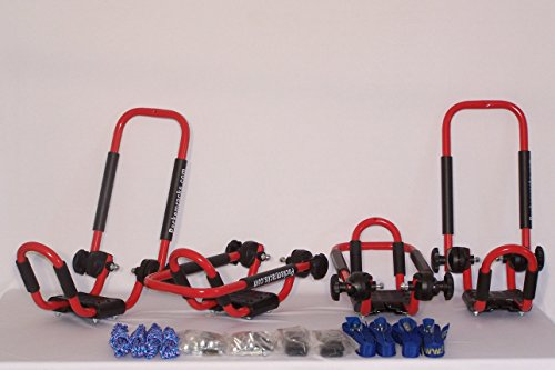 Folding J-style Kayak Rack Roof Top Rack - 2 Sets -In Many Fun Colors (Fire Engine Red)