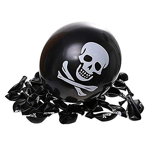 Pirate Halloween Christmas Black Balloons Skull Latex Balloon Death's-Head Skull 15.7inch Ballon for Party Decorations (10)]()