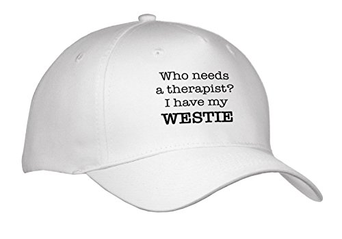 EvaDane - Quotes - Who Needs A Therapist I Have My Westie - Caps - Adult Baseball Cap (cap_256322_1) (Westie Hat)