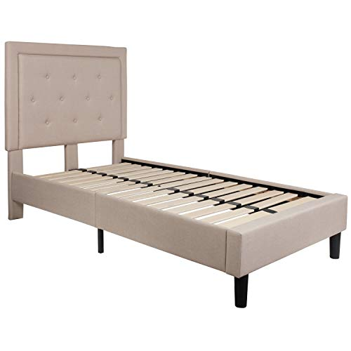 (Flash Furniture Roxbury Tufted Upholstered Twin Size Platform Bed in Beige Fabric)