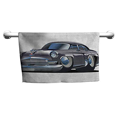 zojihouse Cars Hooded Towel for Kids Retro Inspired Car Design with Asymmetric Tires Fast Car Speeding Cool Logo W12xL28 Silver Dark Grey