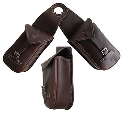 CHALLENGER Horse Leather Western Saddle Trail Horn Bag w/Roller Buckle 102RT02 ()