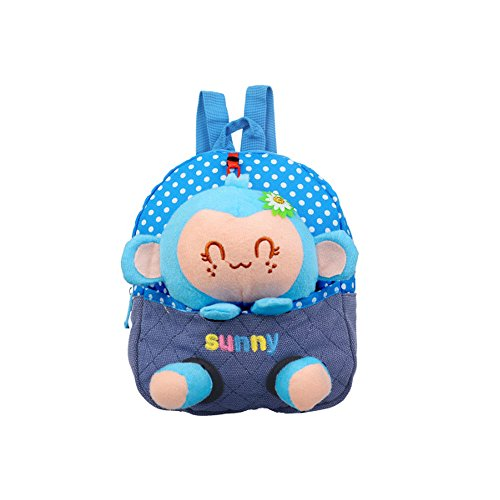 Emotionlin Kindergarten 1-2-3 Year Old Baby Bags of Small Bags of Monkeys Cute Backpack Cartoon Bag (Blue) by Emotionlin