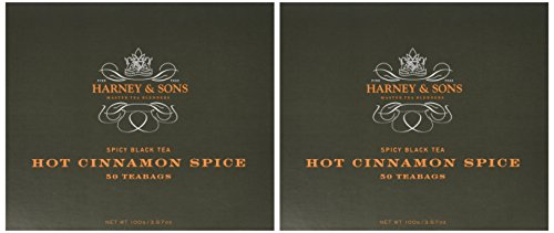 Harney & Sons Hot Cinnamon Spice - Spicy Black Tea with Orange Peel, 3 Types of Cinnamon, and Sweet Cloves - 50 Foil-Wrapped Tea Bags, Pack of 2 ()