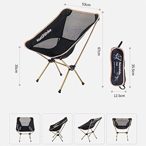 GQQ Chaise de Bureau, Chaise Chaise Pliante Portable Extérieure Camping Plage Chaise Longue Chaise de Loisirs Ultra Légère Chaise Arrière Tabouret Chaise Pliante En Or
