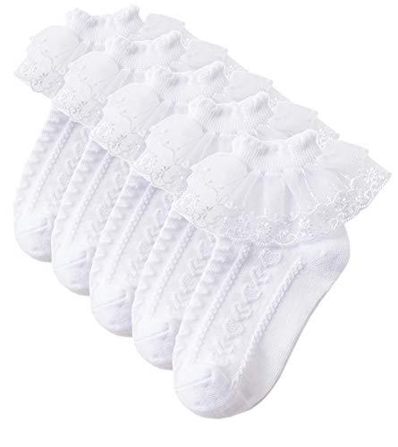 (Sept.Filles BabySocks Girl's Socks Lace Top Anklet Socks Packs of 5 (White with Love, L(9-11)))
