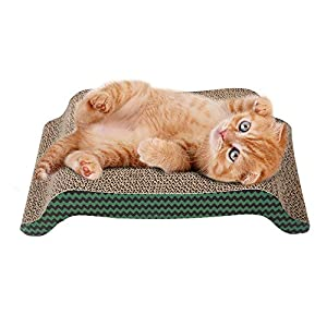 PAWISE Cat Scratcher Cardboard Reversible Cat Scratcher Refill Lounge (Arched, 17 x 9) 87