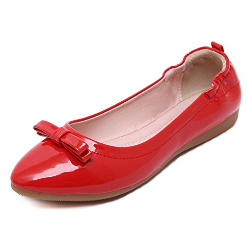 Shoes Bow Pumps Flats Pointed CHFSO Knot Womens Red Sweet Toe Boat ZwApxqTx