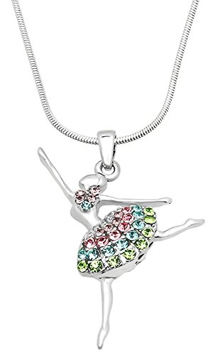 Cute Ballerina Ballet Dancer Dance Pendant Necklace Jewelry Gift for Teens, Girls, Women, Daughters, Granddaughters, Sisters (Pink, Blue, Green, Purple Combo) for $<!--$15.99-->