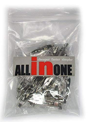 ALL in ONE 100pcs Silver Tone Brooch Badge Pin Back Safety Pins for DIY (30MM)