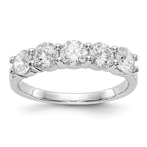 JewelrySuperMart Collection 1 1/2 CT 14k White Gold 5 Stone Diamond Anniversary Band. 1.455 ctw.