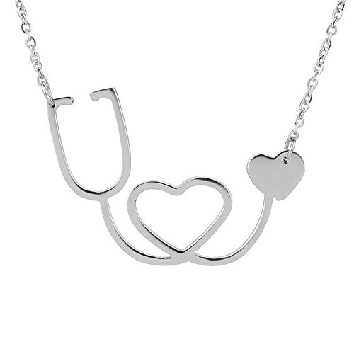 - Medical Doctor Nurse ER Stethoscope Heart Silver Charm Pendant Chain Necklace