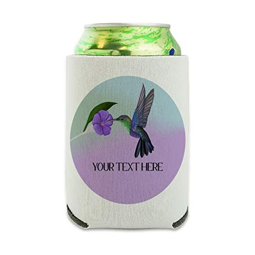 Personalized Custom Hummingbird 1 Line Can Cooler - Drink Sleeve Hugger Collapsible Insulator - Beverage Insulated…  