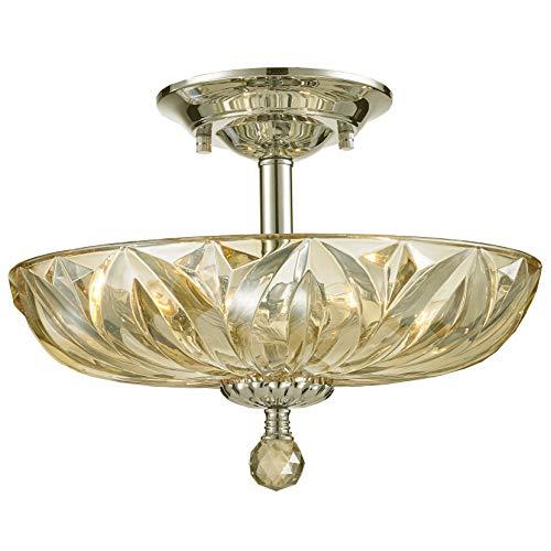 Worldwide Lighting Mansfield Collection 4 Light Chrome Finish and Golden Teak Crystal Bowl Semi Flush Mount Ceiling Light 16