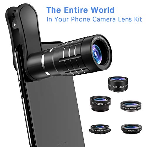 - Phone Camera Lens, [2019 Latest Version] AOMAIS 9 in 1 Phone Lens Kit, 18X Zoom Telephoto Lens|Super Wide Angle Lens|Macro Lens|Fisheye Lens|2X Telephoto Lens|CPL, Compatible with iPhone X XS & More