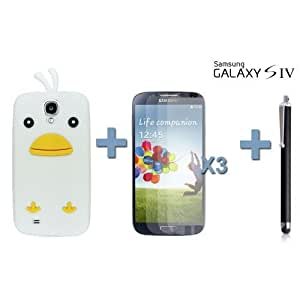 OnlineBestDigital - Chick Style Soft Silicone Case for Samsung Galaxy S4 IV I9500 / I9505 - White with 3 Screen Protectors and Stylus