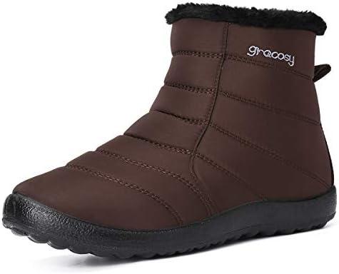 gracosy Bottes de Neige Femme, Bottines Imperméable Fourrure Chaude Boots Montante Chaussures Hiver Plates Fourrée Bottes de Pluie Après Ski Marche