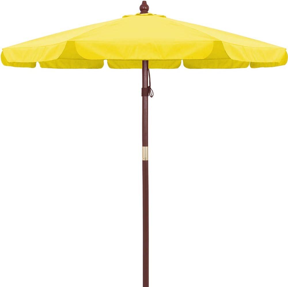 Deuba Sombrilla Amarillo con Palo de Madera en 2 Partes Ø 330cm Impermeable protección UV Exterior jardín Playa pícnic