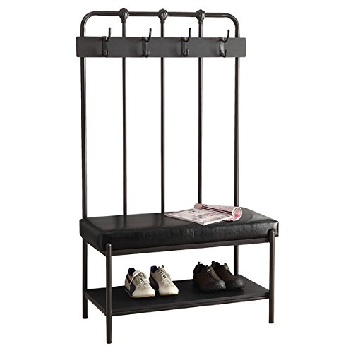Enhance Your Home Decor with Modern Entryway Furniture. A Charcoal Gray Metal Hall Tree with Bench and Storage Adds Style and Function. Your Coat Rack Is a Pretty Entryway Organizer