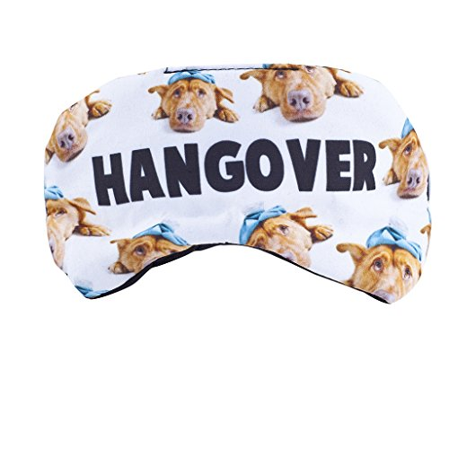Lux Accessories Dog Pets Animal Lover Hangover Drunk Emoji Kitschy Sleeping Mask ()