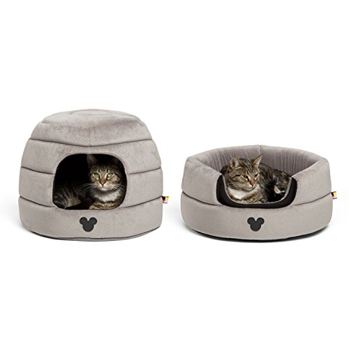 Disney Mickey Mouse 2-in-1 Honeycomb Hut Cuddler in Mickey Bobble, Grey, Jumbo (Dog Bed/Cat Bed)