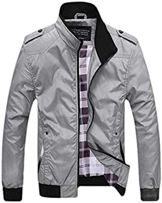 0a754b5add9 YIhujiuben Men's Classic Style Zip Up Long Sleeves Windbreaker ...