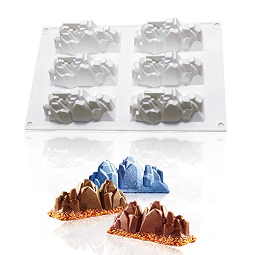 Palksky Mousse Silicone Mold 6 Holes Iceberg Mousse Baking Mold For Cake Pan,Snow Mountain Gypsum Mold,Volcano Shape Candle Mold Christmas Cake Decorating Tools (New -