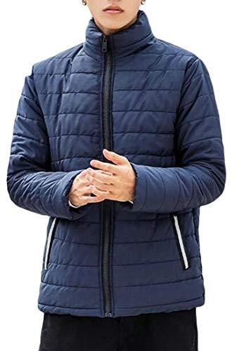 Down Long Men's Jacket Blue Stand EKU Size Plus Lightweight Navy Collar Sleeve w8Xnq1U