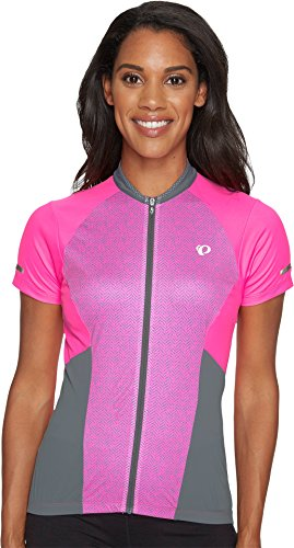 Pearl iZUMi Women's Elite Escape Short Sleeve Jersey, Screaming Pink Parquet Stripe, Small